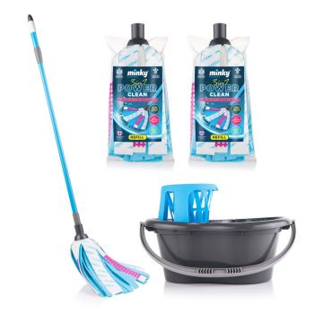 3 in 1 Power Clean Strip Mop with 2 Extra Refills and Bucket & Wringer