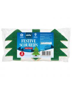 Heavy Duty Festive Tree Scourers 3pk