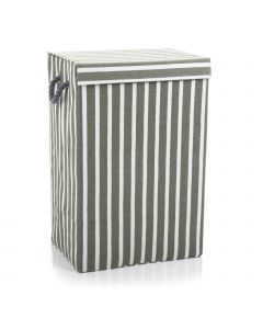 Fabric Laundry Basket in Grey Stripe