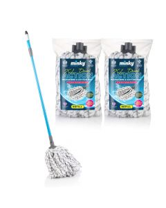 XL Dual Action Microfibre & Cotton Mop with 2 Extra Refills