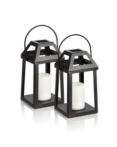 Set of Two Alfresia Outdoor Solar Lanterns - Flickering Flame Soft Lighting