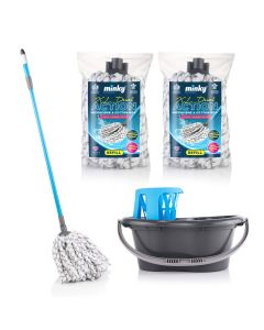 XL Dual Action Microfibre & Cotton Mop with 2 Extra Refills and Bucket & Wringer