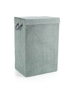 Fabric Laundry Basket in Grey Weave Pattern