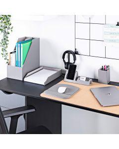 Vitinni Desk Organiser Set - Desktop Storage in Grey PU Leather